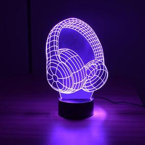 Abajur Luminária Led 3d Com Controle - Fone De Ouvido