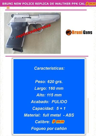 Pistola De Fogueo Walther Ppk Pulida Cal 9 Mm