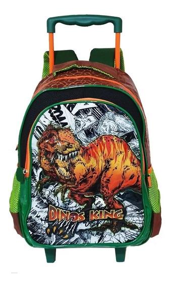 Mochila Infantil Escola Rodinhas Dinossauro Rex King Grande