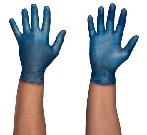 Guantes Desechables Vinilo Azul (x100) Talla S M Y L