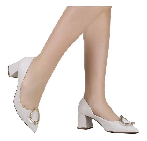Sapato Scarpin Jorge Bischoff Salto Grosso Branco