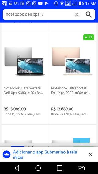 Notebook Dell Inspiron 13pl 8° Geração Preço Abaixo