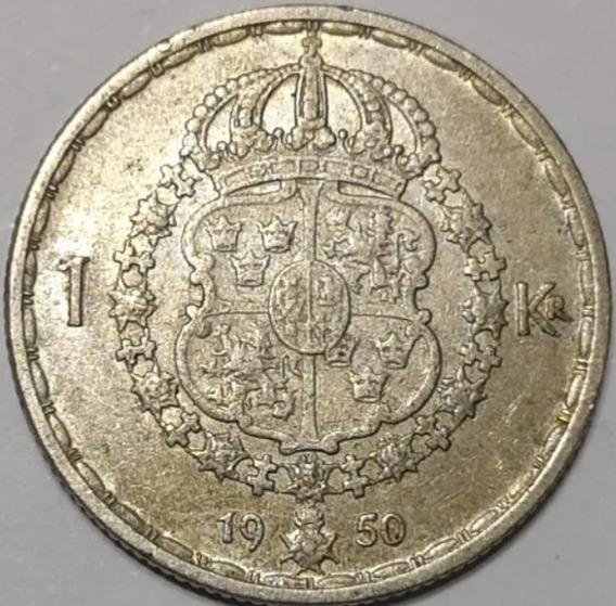 Suecia 1950 1 Krona Moneda De Plata Gustaf V L11619