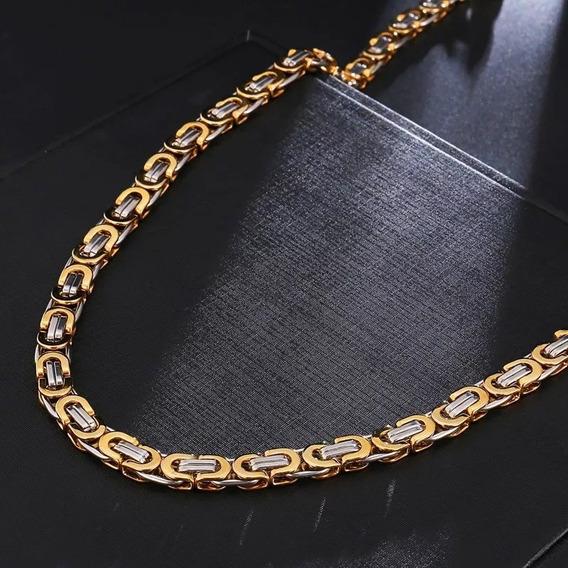 Collar Cadena Caballero 6 Mm Acero Inoxidable Dorado Gruesa