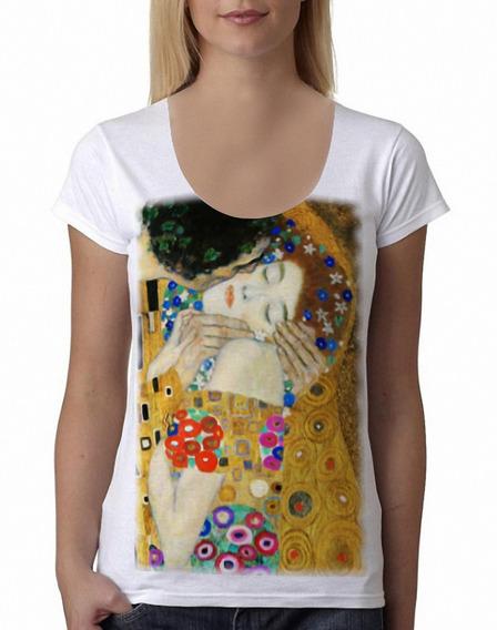 Remera Klimt El Beso Mujer Cuadros Arte Blanca Purple Chick