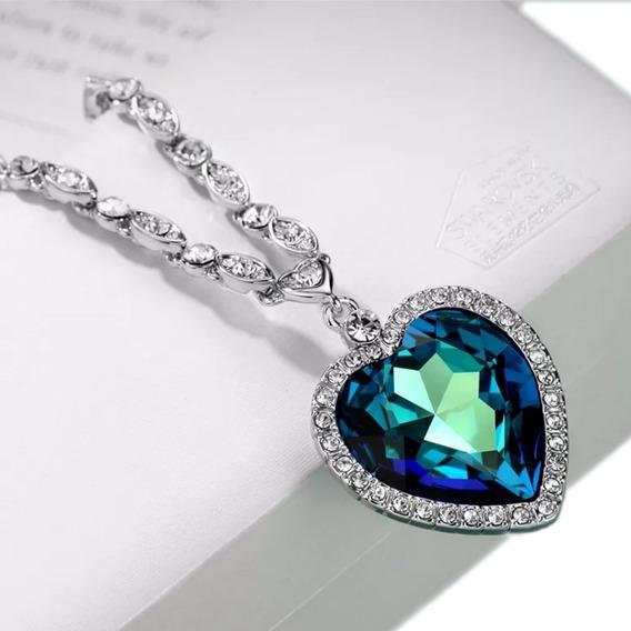 Joia De Festa Colar Feminino Luxo Com Cristais De Zircônia - Coração Do Oceano ( Diamante Azul Titanic )