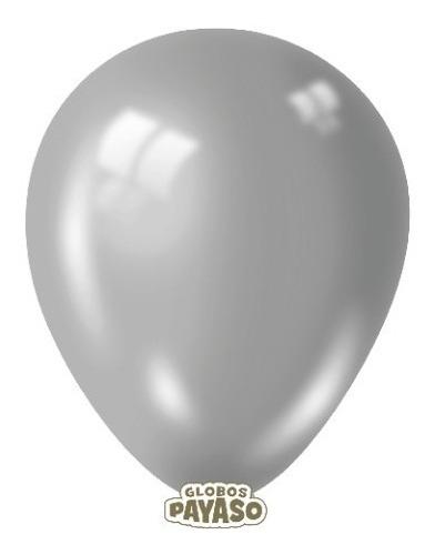 Globos  R-9 Color Metal Plata 12 Unidades