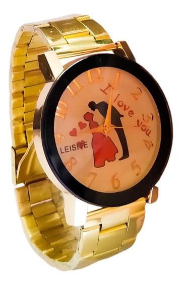 Relógio Dourado Feminino Personalizado Te Amo + Brinde