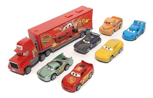 Camión Cars + 6 Carros De Cuerda Mc Queen