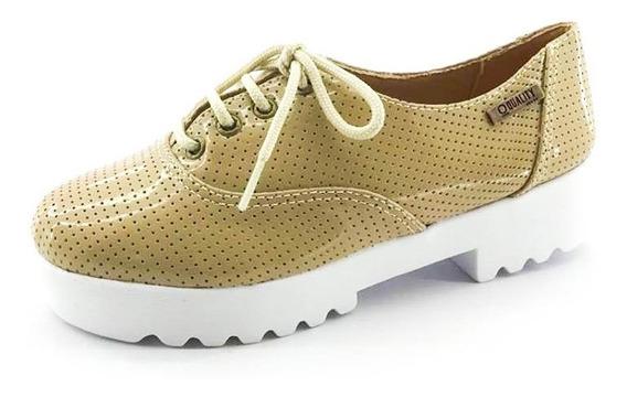 Tênis Tratorado Quality Shoes Feminino 005 Verniz Bege Perfu