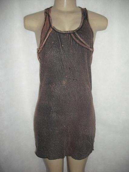Vestido Marrom Imita Jeans Malhado M Usado Bom Estado