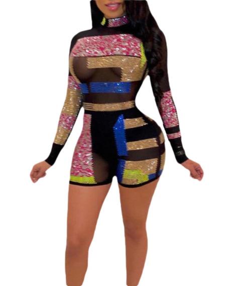 Sensual Jumpsuit Imitação De Diamante Bodycon Gola Olímpi