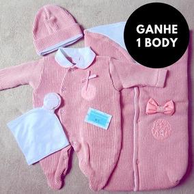 Saída Maternidade Rosa Menina Inverno Conjunto