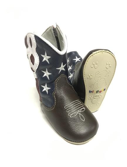 Bota Botinha Texana Infantil Para Bebê Com A Bandeira Dos Estados Unidos - Super Confortável Com Acabamento Único!