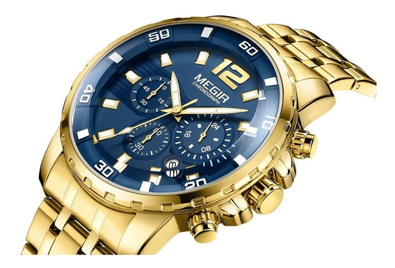 Relógio Masculino Megir 2068 Dourado Chronograph