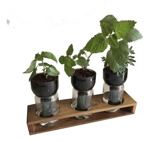 Imagen 1 de 10 de Jardinera Autorregante Hierbas Trío The Little Yisus