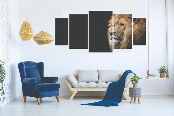 Kit Quadro Decorativo Sala Peças Mosaico Leão