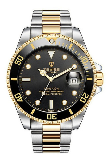 Relógio Masculino Automático Dourado C/ Aço Inox Tevise