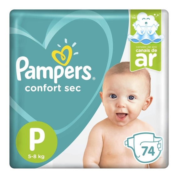 Fralda Pampers Confort Sec P Super Pack - 74 Unidades