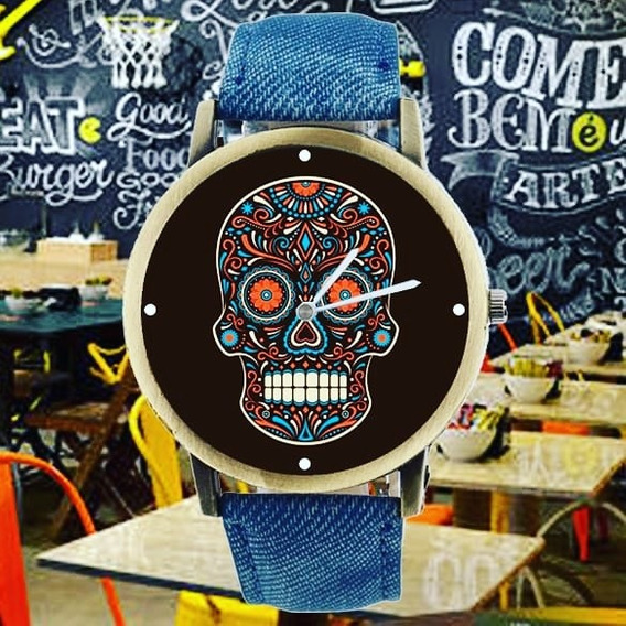 Relógio De Pulso,feminino Caveira Mexicana, Pulseira Couro