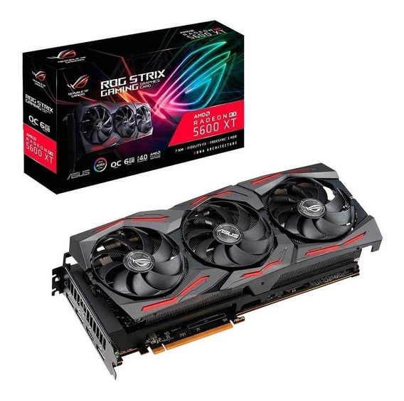 Placa de video AMD Asus Radeon RX 5600 Series RX 5600 XT ROG-STRIX-RX5600XT-O6G-GAMING OC Edition 6GB