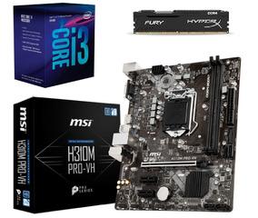Kit 8ª Geração Intel I3 8100 + Mb H310m + 4gb Ddr4