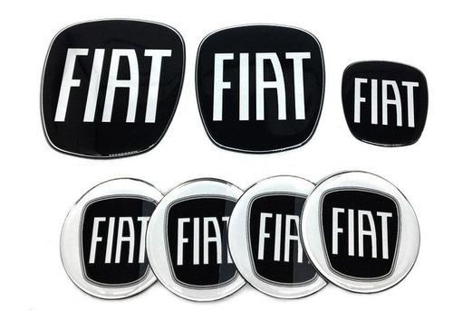 Kit Completo Adesivos Fiat Black Piano Resinado Punto 08/16