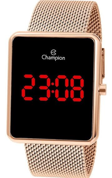 Relógio Digital Feminino Champion Rosê Quadrado Nota Fiscal