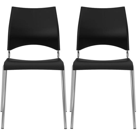 Conjunto De Cadeiras Em Aço Cromado Ponteiras Plásticas - Carraro 357