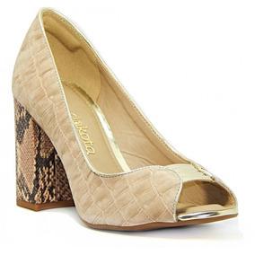 Sapato Feminino Dakota Peep Toe Original B6761 - Bege