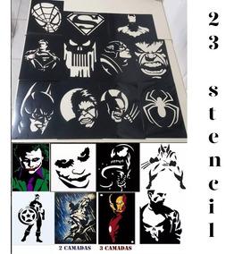 23 Stencil Molde Vazado Heróis Pintura Camiseta Frete Grátis