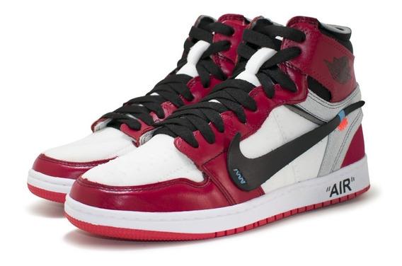 Tênis-bota Air Jordan 1 Off White Lançamento Couro Show