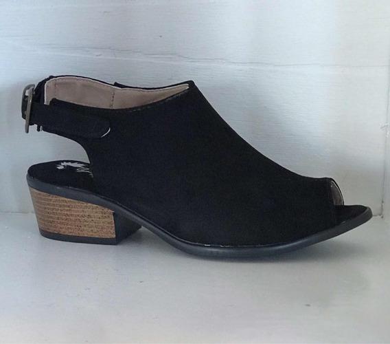 Zapato Estilo Botín Tacón Bajo Negro Dama