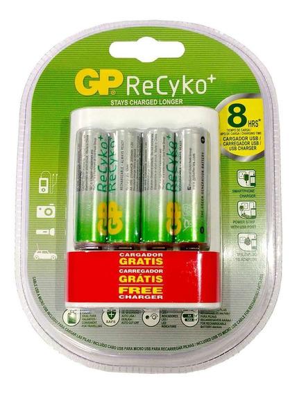4 Pilhas Gp Batteries Recarregáveis Aa + Carregador Usb