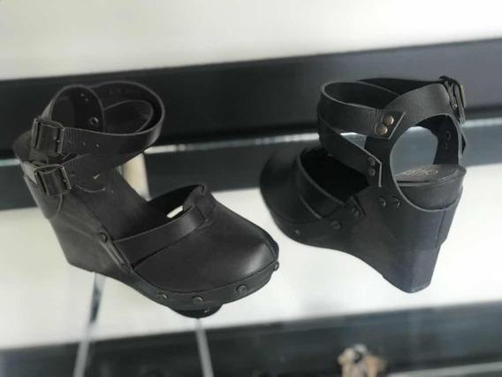Zapatos De Piel Y Plataforma Estilo Madera
