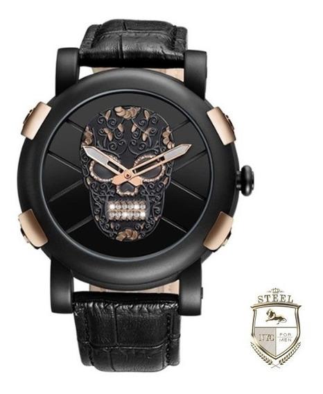 Reloj Calavera Skull Oro Rosa Steel Mexico