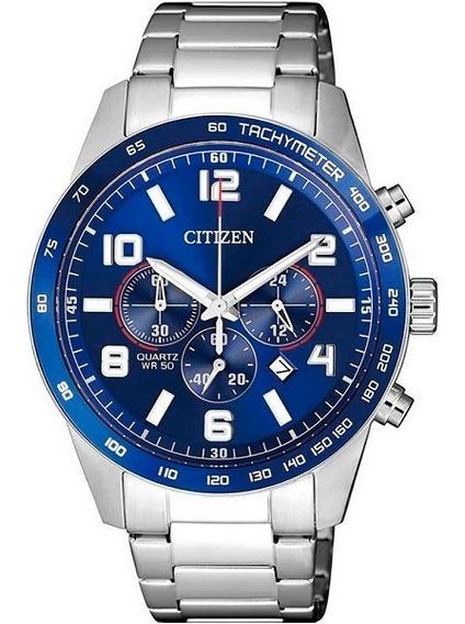 Relógio Citizen Masculino Analógico Prata Calendário Aço