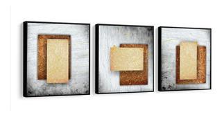 Quadro Decorativo Abstrato Tons Bege Fundo Cinza Novo Sala