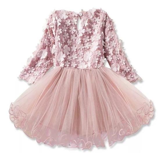 Hermoso Vestido Bebé Niña Elegante, Color Rosa