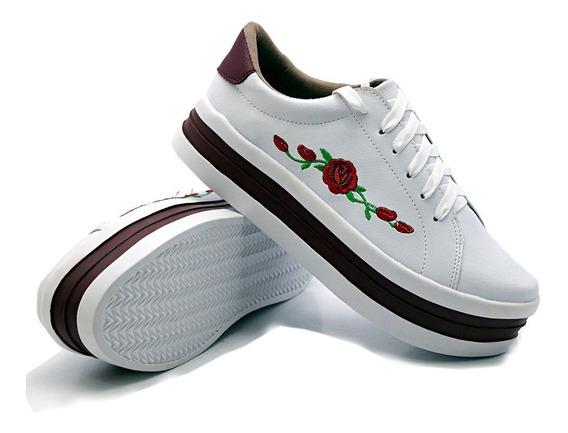 Tenis Feminino Bordado Sola Alta Flatform Sola 5 Cm Dk Shoes