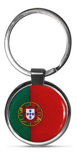 Chaveiro Premium Cromado Bandeira Portugal 3,5x7,5cm