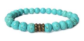 Pulseira Masculina Feminina Pedra Natural Turquesa Azul