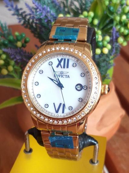Relógio Invicta Angel 23662 Gold 18k Novo E Original Pedras