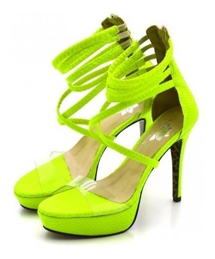 Sandália Plataforma Tiras Salto Alto Meia Pata Neon Verão