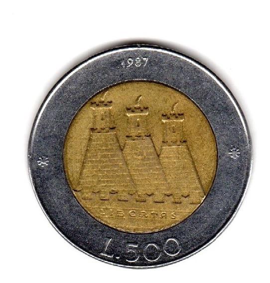 Bkz / San Marino - 500 Liras 1987 Bimetálica