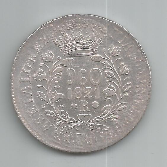 Moeda Prata Brasil - 960 Réis (patacão)- 1821 R - Var. Pc-3c