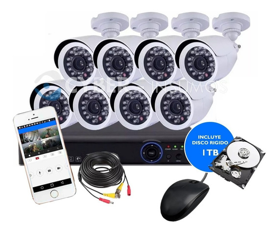 Kit 8 Camaras Seguridad Ip Hd Cctv Dvr Hdmi Disco Rigido 1tb
