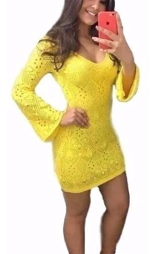 Vestido Curto Manga Longa Flare Renda Crochê Tricot Trico