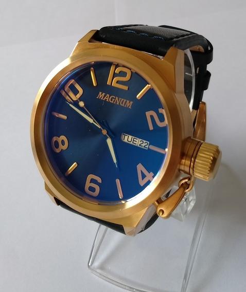 Relógio Dourado Masculino Magnum Ma33399a Pulseira Couro.