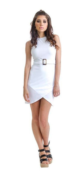 Vestido Dama Blanco Devendi Entallado Con Broche En Cintura